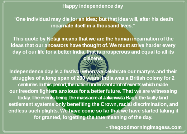 Speech On Independence Day 2020